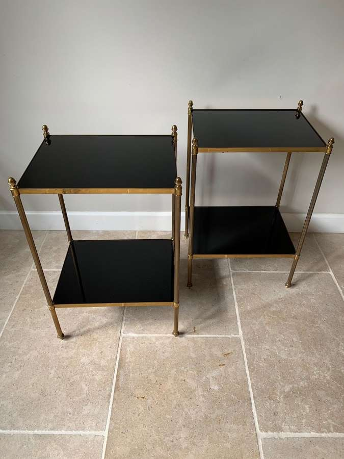 Pair of black vitrolite glass and brass side tables