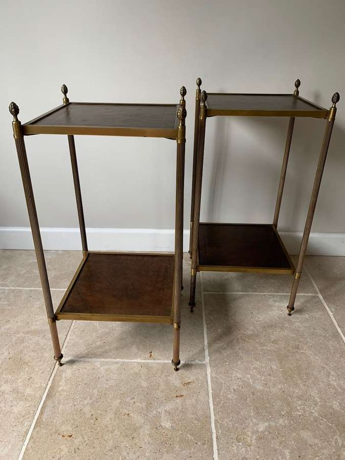 Pair of leather and brass side tables