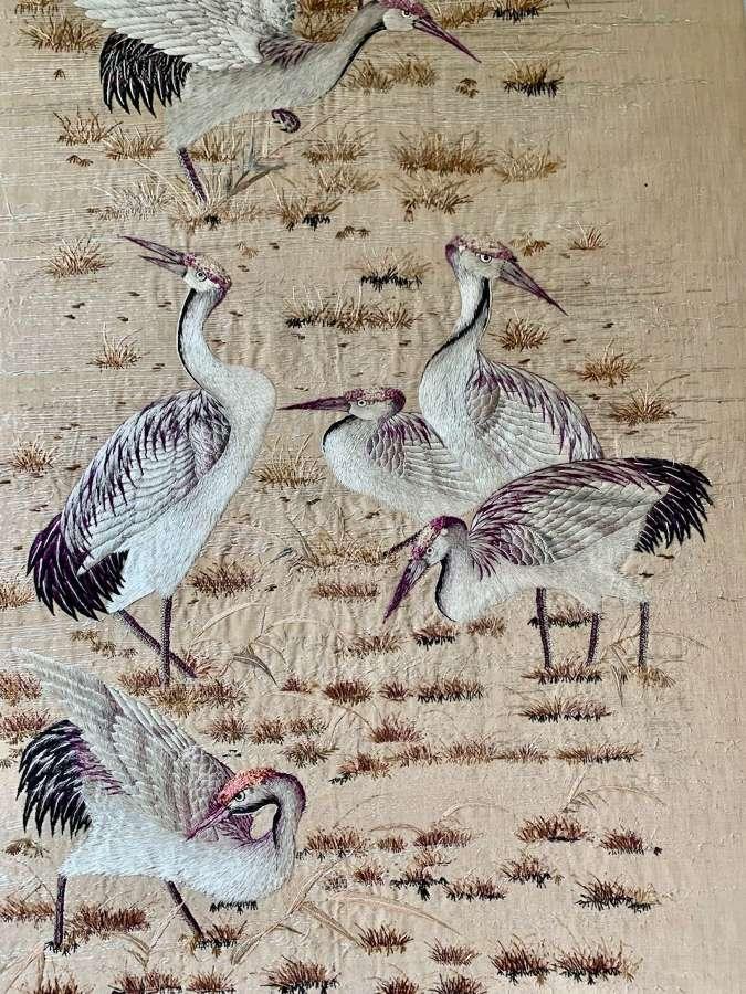 Japanese Meji crane textile