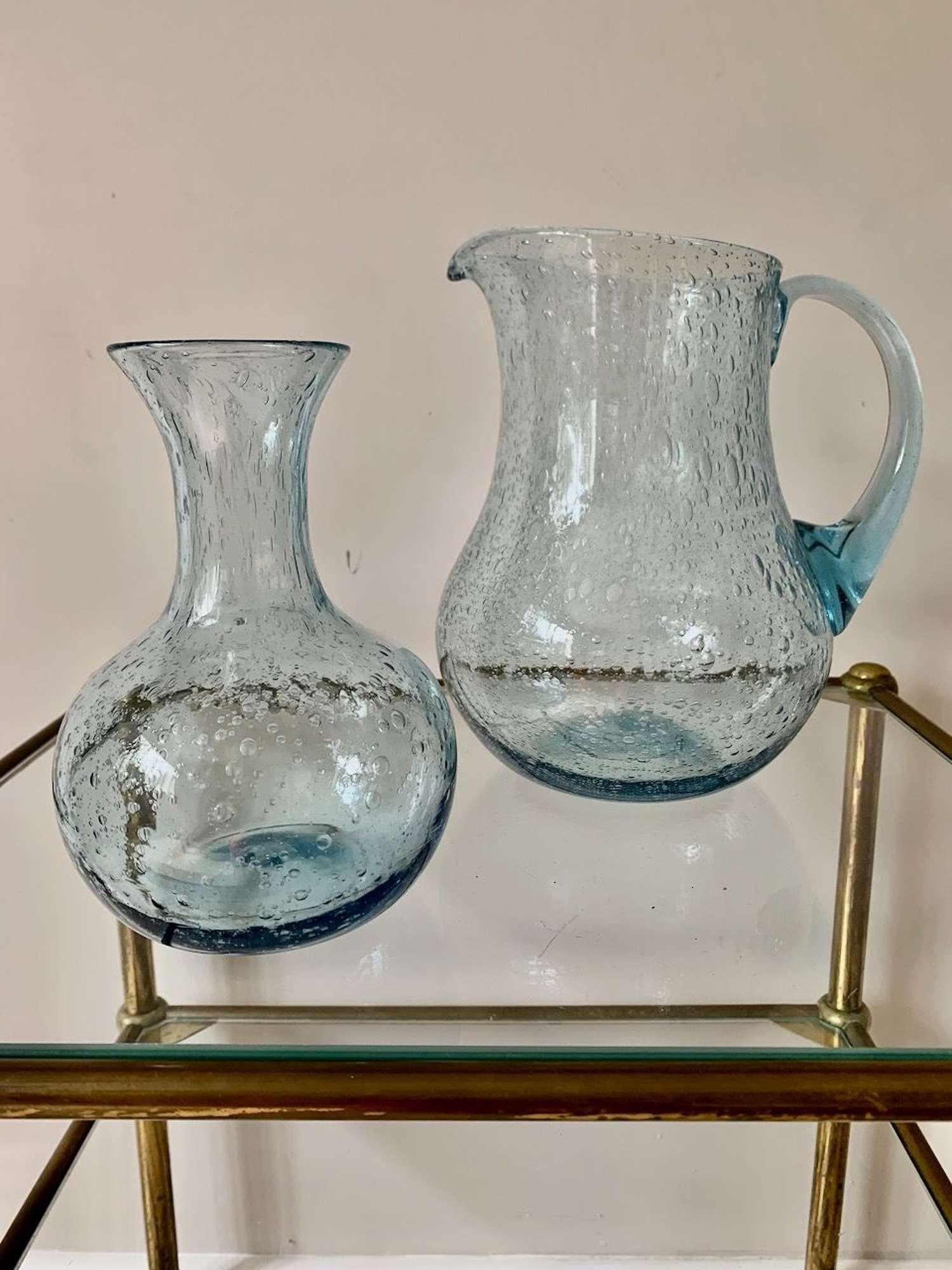 Blue bubble jug by Biot