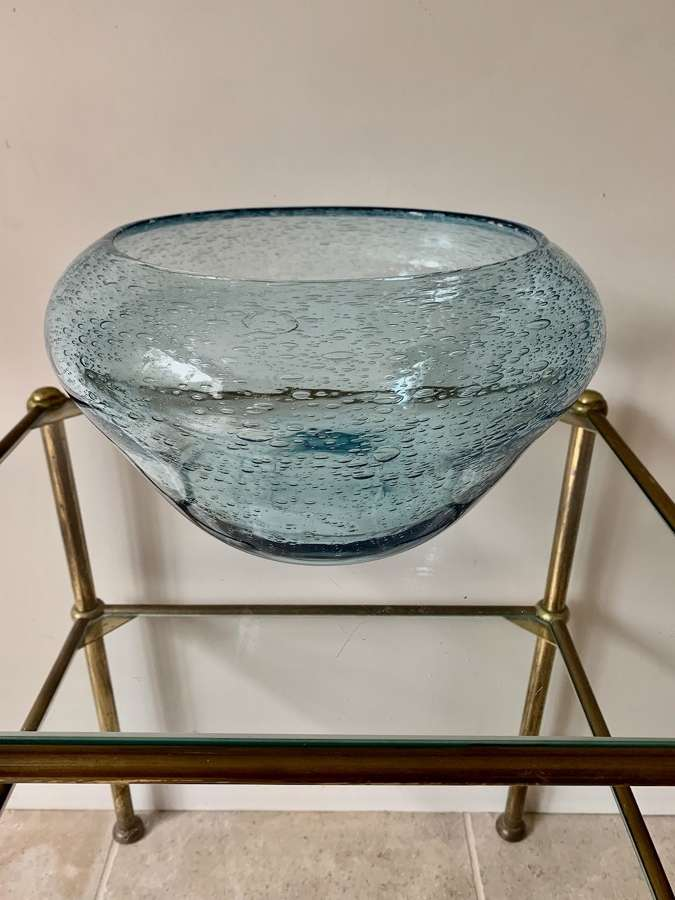 Large blue bubble glass bowl by Biot