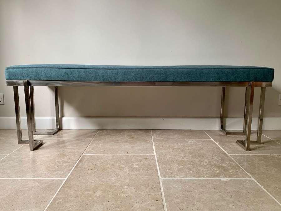Brushed steel framed bench