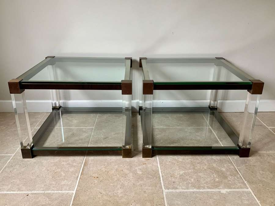 Pair of two tier lucite and glass side tables