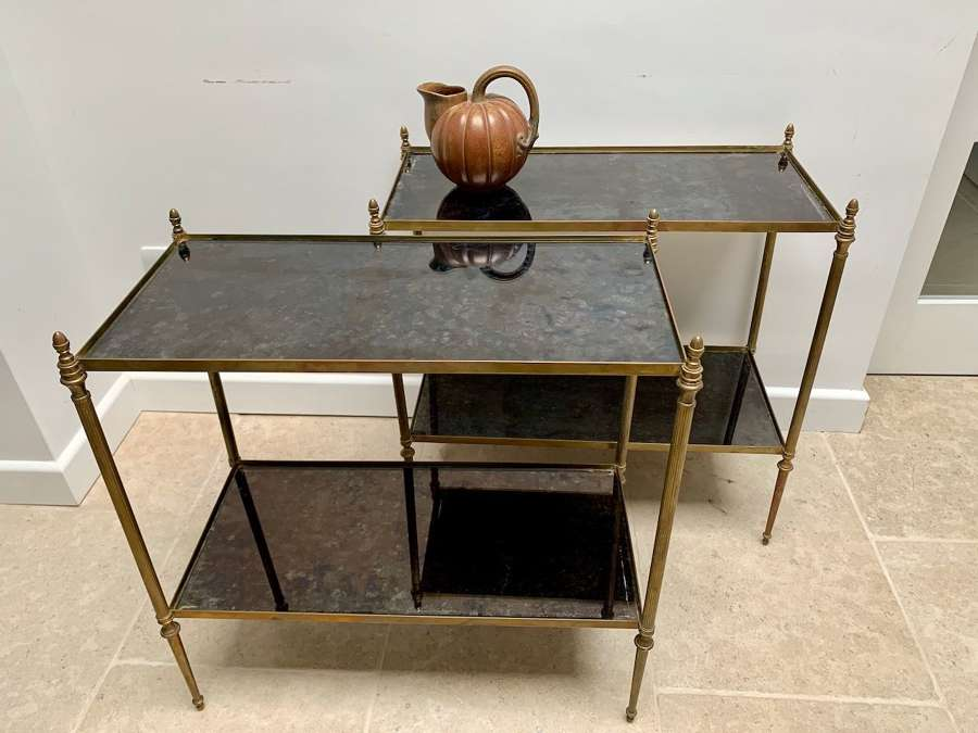 Pair of rectangular two tier side tables