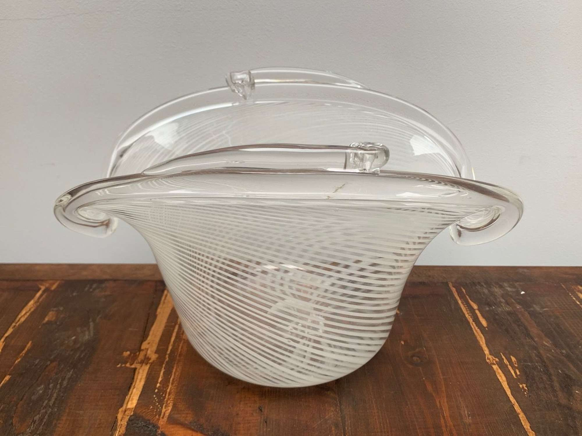 White stripe Murano glass bowl