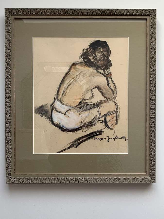 Seated nude pastel drawing