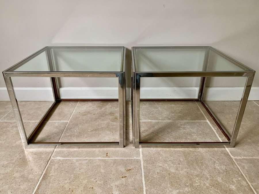Pair of silver and gold metal side tables