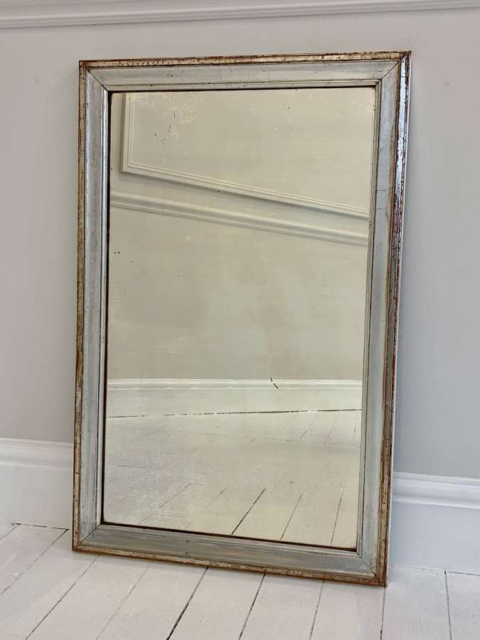 C19th Silver mercury glass mirror