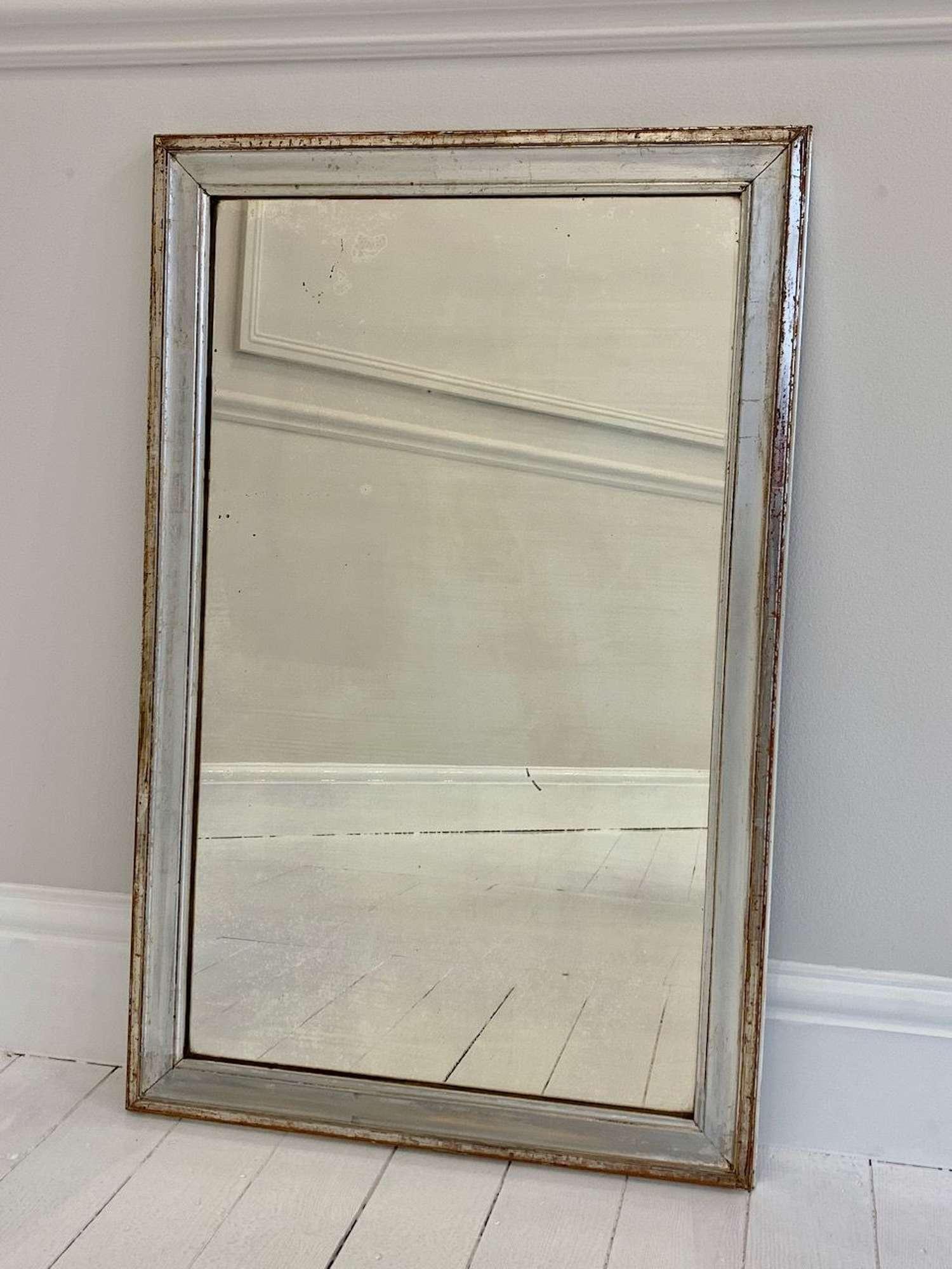 C19th Silver mercury glass mirror