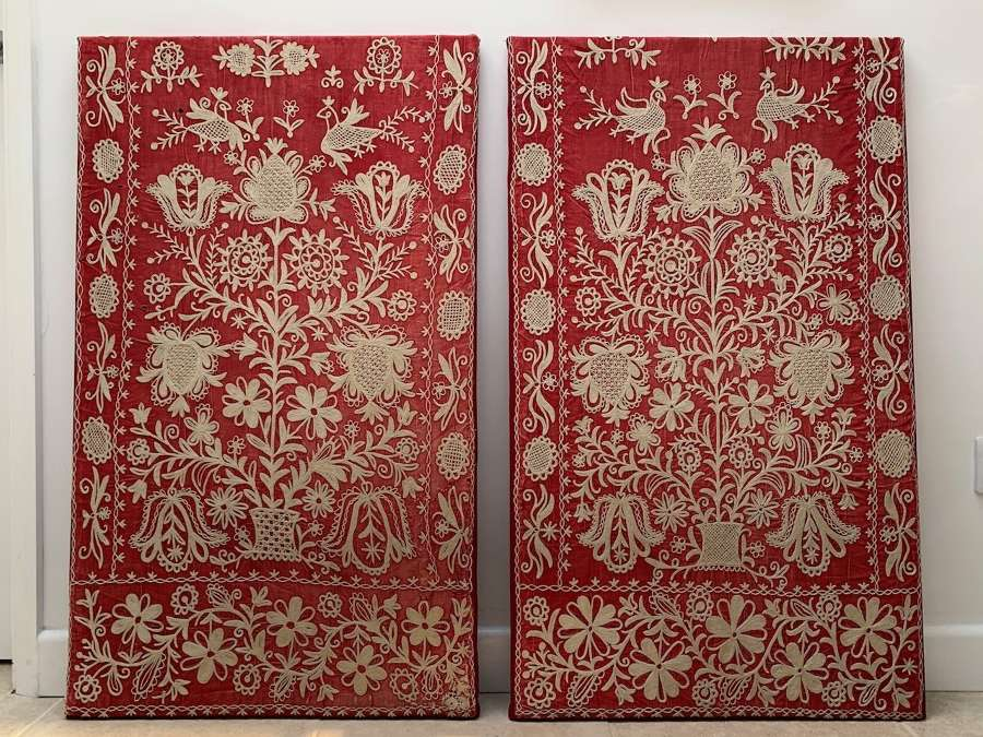 A pair of Greek applique chainstitch textiles
