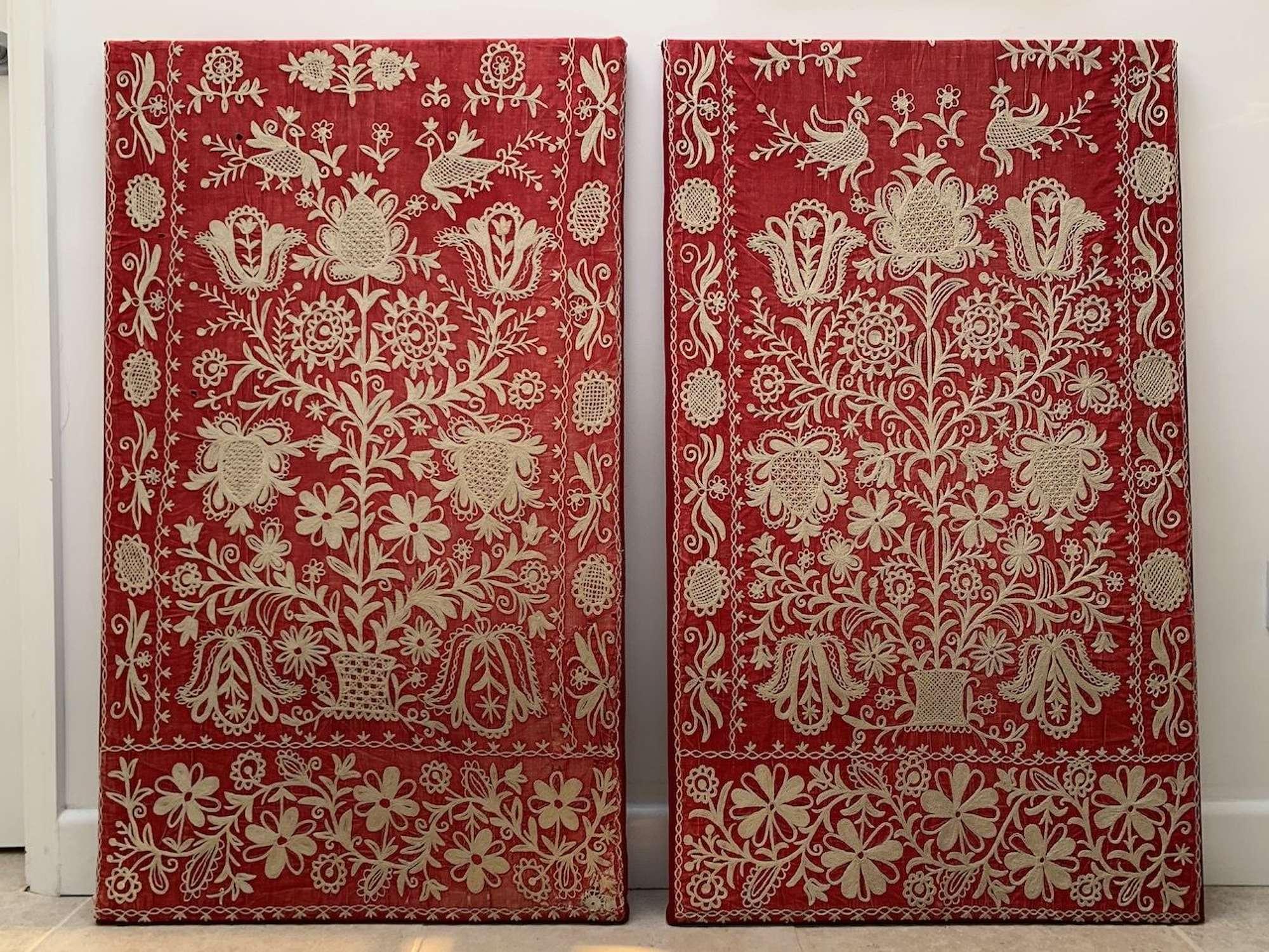 A pair of Greek applique chainstitch textiles