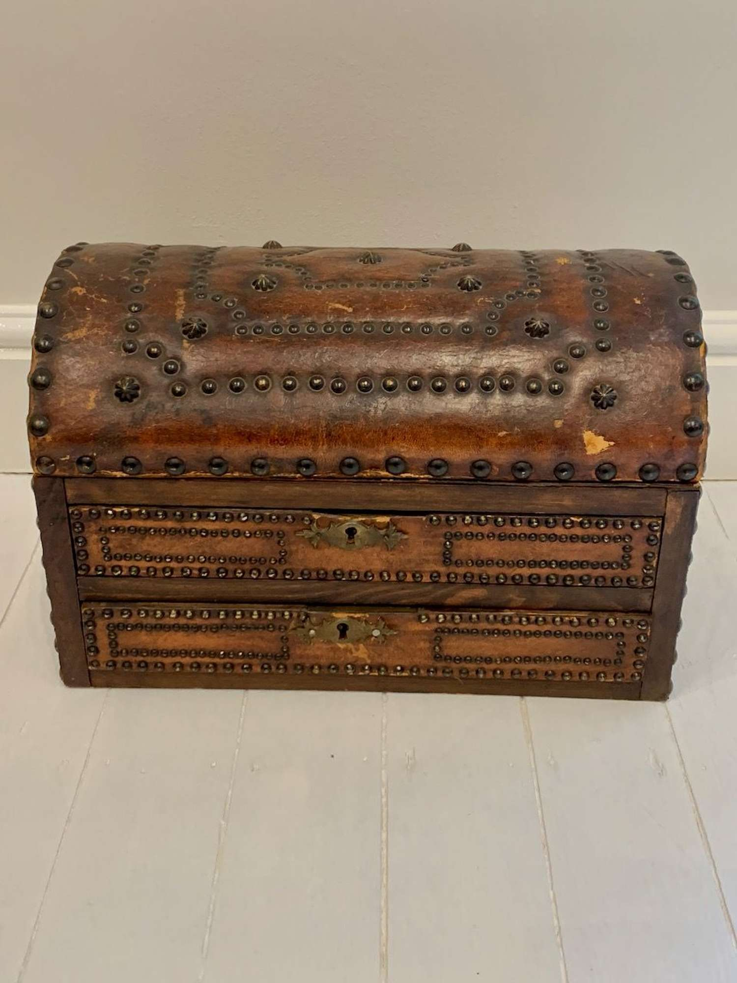 Studded brown leather box