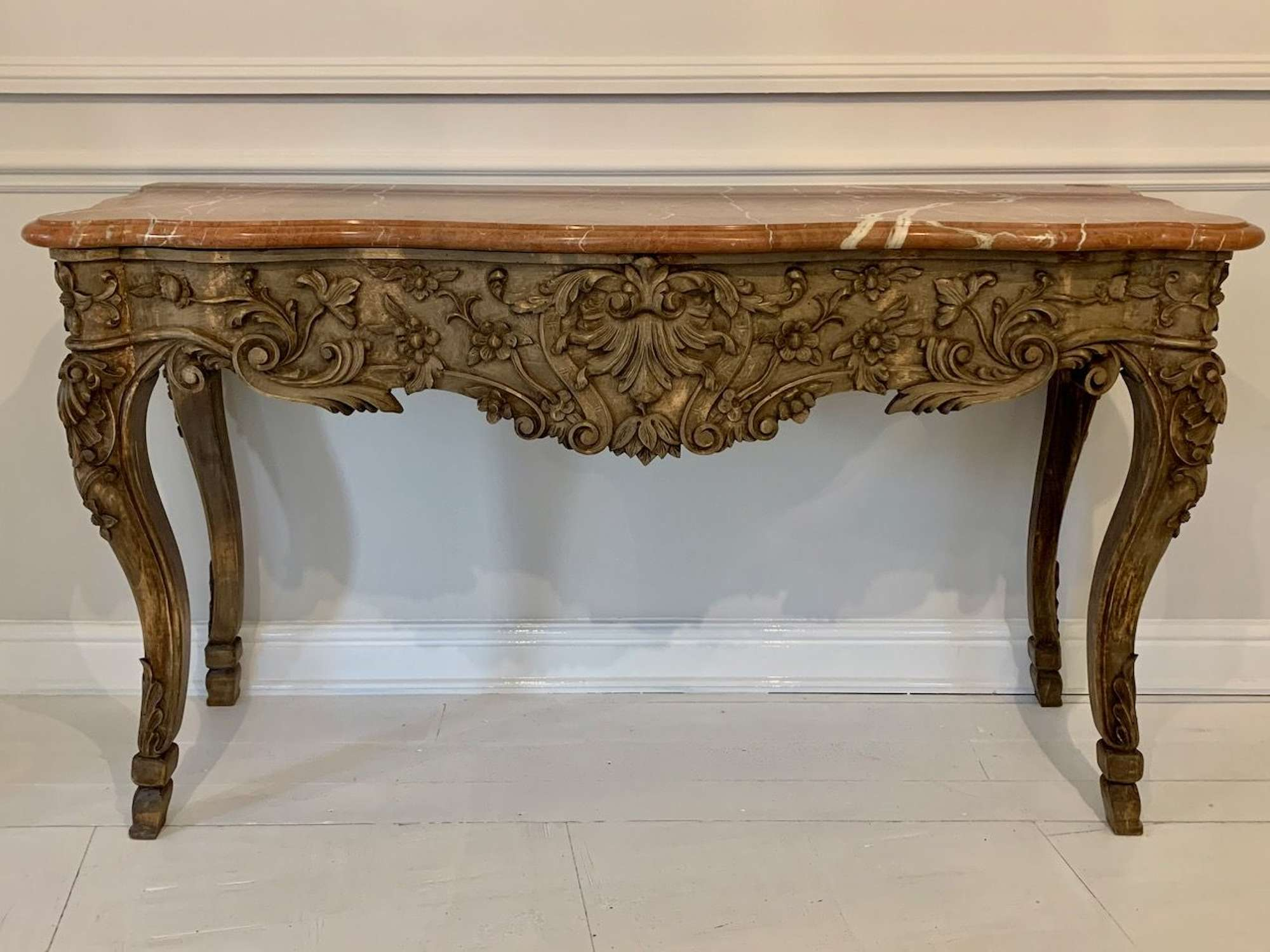 Carved wood and marble console