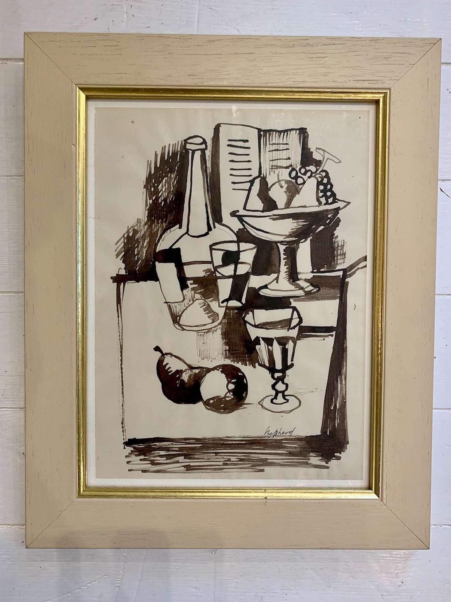 Still life ink drawing