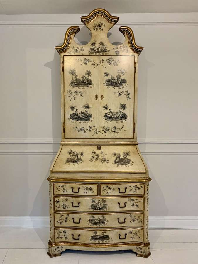 Toile de Jouy painted secretaire bureau bookcase