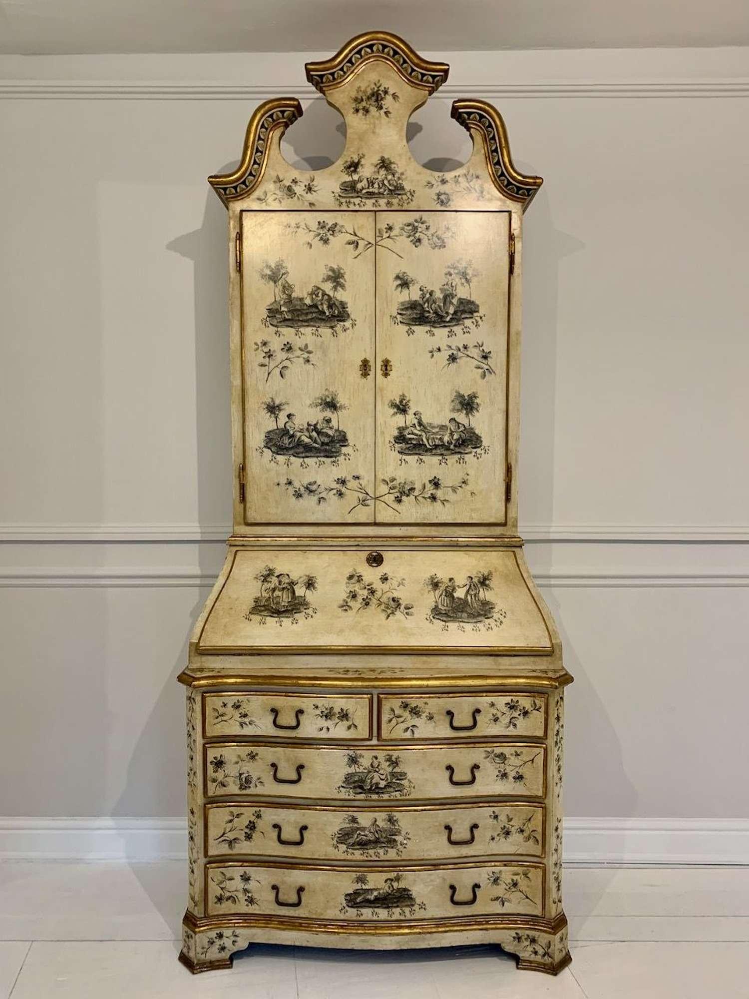 Toile de Jouy painted secretaire bureau bookcase