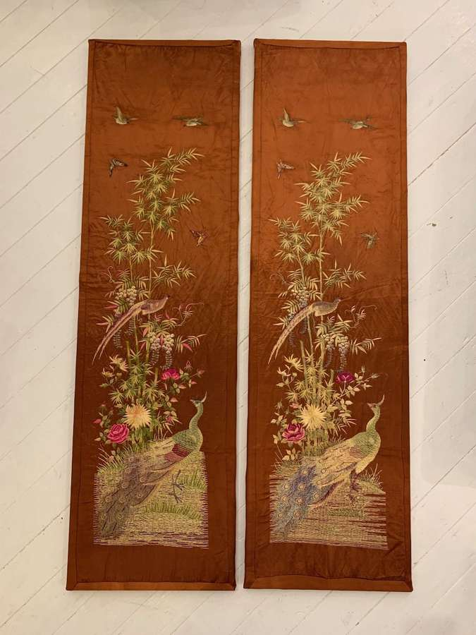 A pair of Chinese embroideries