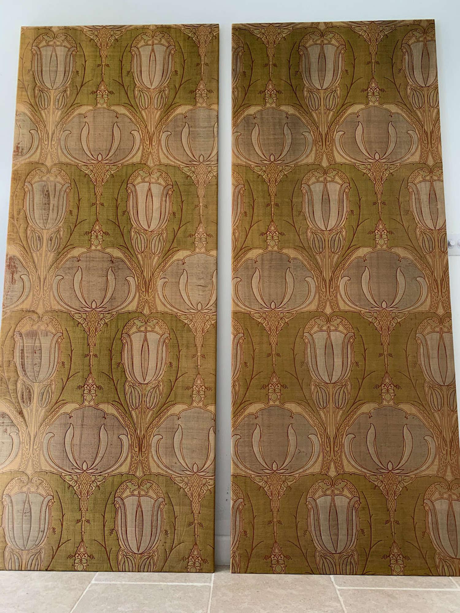 A pair of Art Nouveau Liberty textile panels