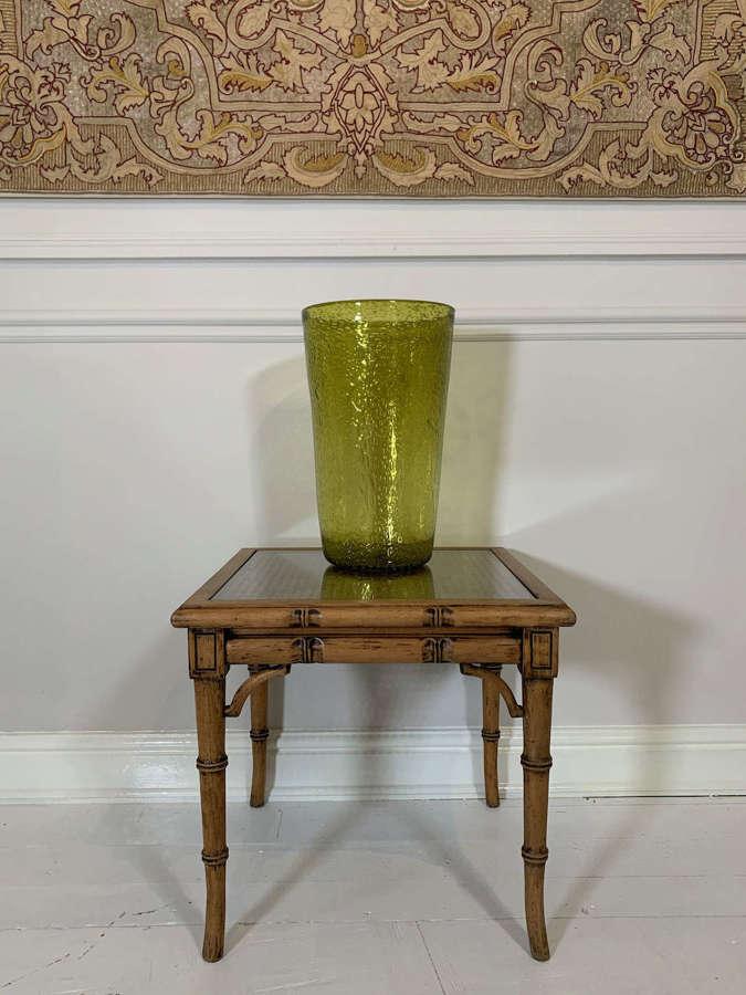 Tall green bubble vase