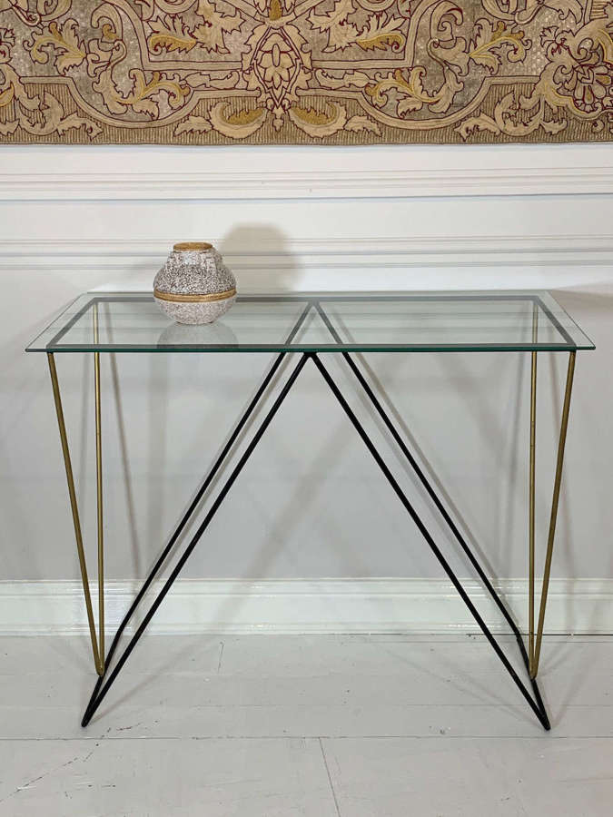 1950's curved metal and glass console