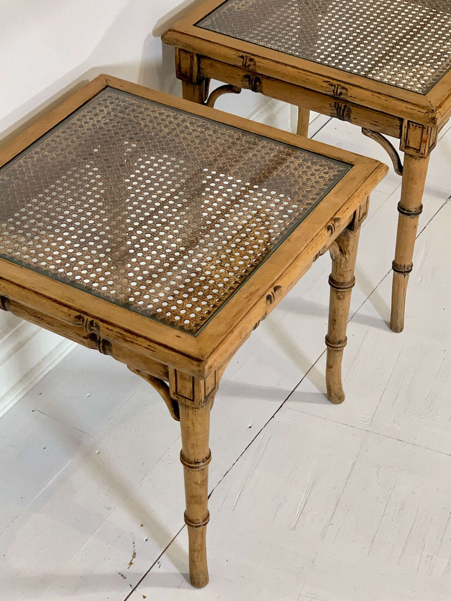 Bamboo, cane and glass side tables