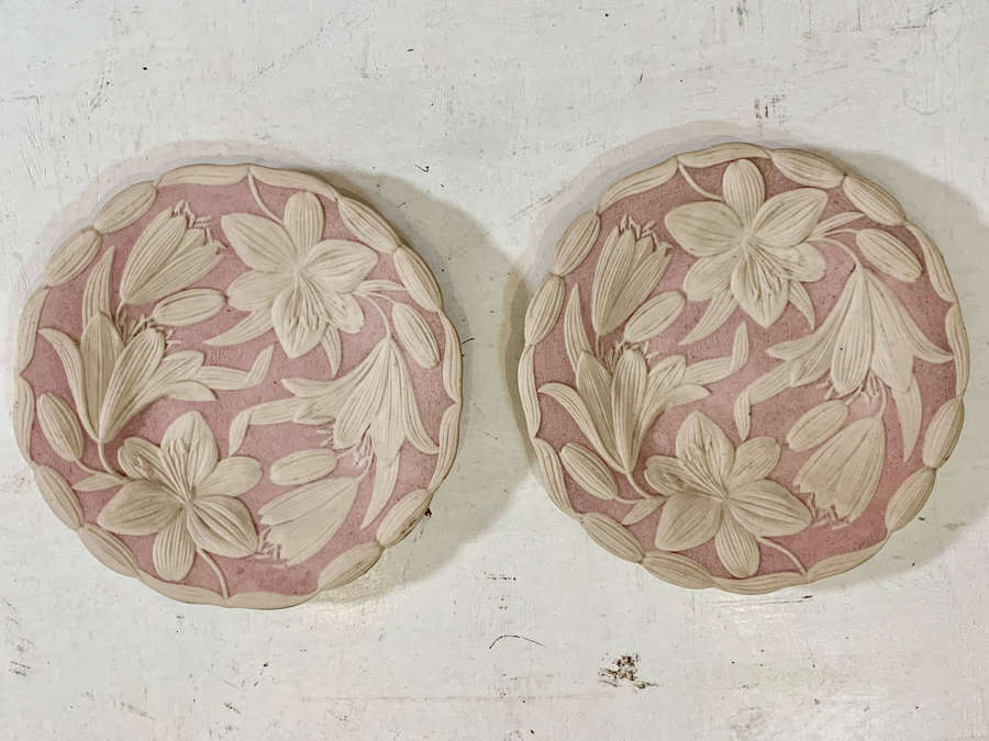 Pair of English drabware plates.