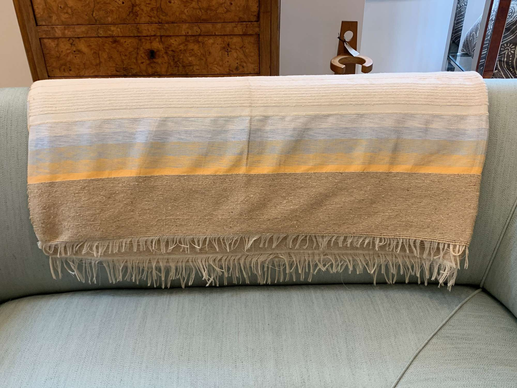 Moroccan hand woven wool and silk throw.