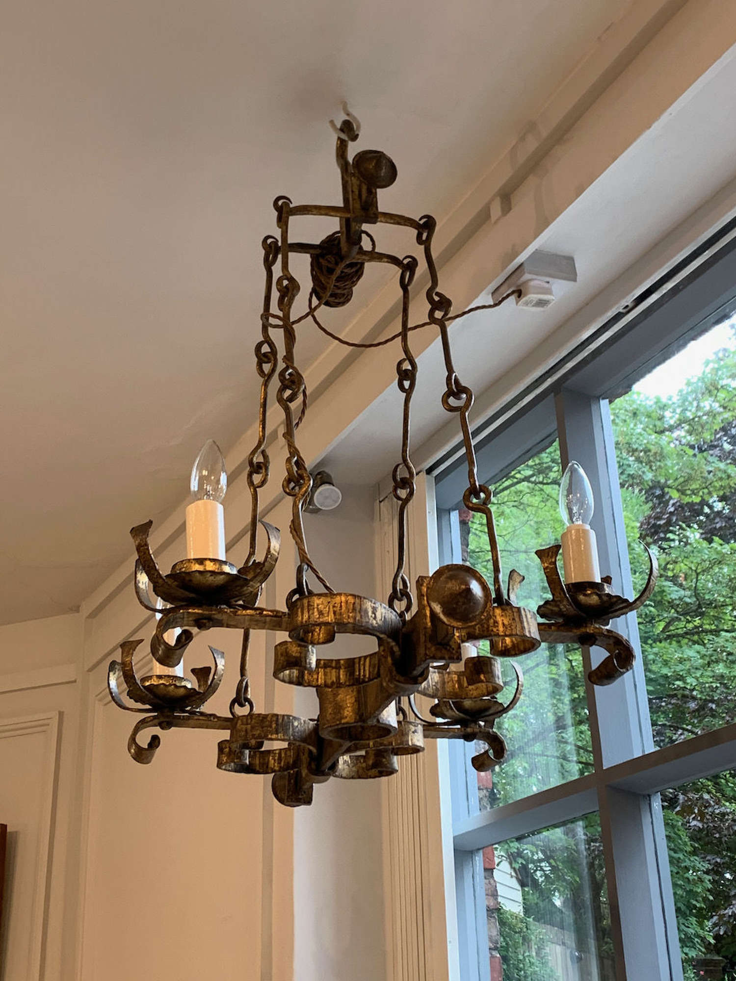 Gilt metal Spanish chandelier